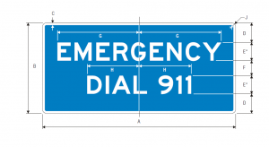 D12-4 Emergency Dial 911 Guide Sign Spec