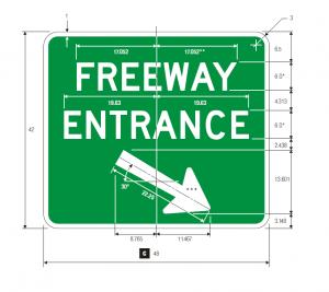 D13-3aR Freeway Entrance Guide Sign Spec