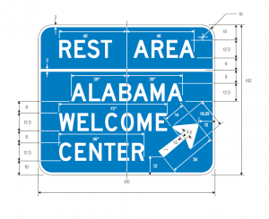 D5-10 Combination Rest Area State Welcome Center Exit Direction Guide Sign Spec