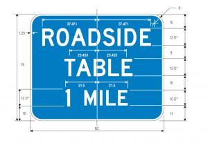 D5-5e Roadside Table Distance Guide Sign Spec