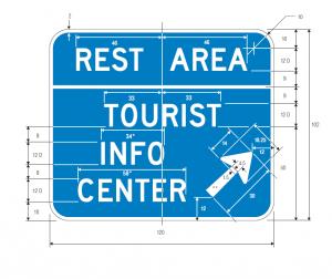 D5-8 Combination Rest Area Tourist Info Center Exit Direction Guide Sign Spec