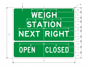 D8-2 Weigh Station Next Right Open Closed Guide Sign Spec