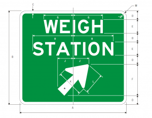 D8-3 Weigh Station Exit Direction Guide Sign Spec