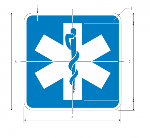 D9-13 Emergency Medical Services Guide Sign Spec