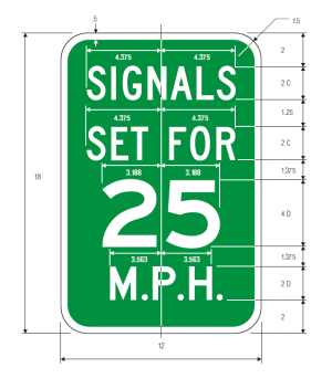 I1-1 Traffic Signal Speed Guide Sign Spec