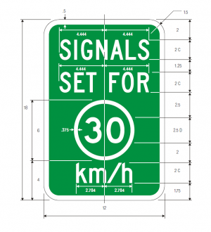 imgI1-1 Traffic Signal Speed Metric Guide Sign Spec
