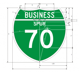 M1-3 Off Interstate Business Route Spur Guide Sign Spec