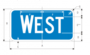 M3-4 Interstate Cardinal Direction Auxiliary Guide Sign Spec
