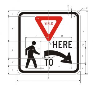 R1-5R Yield Here To Pedestrians Regulatory Sign Spec