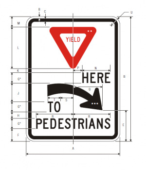 R1-5aR Yield Here To Pedestrians Regulatory Sign Spec