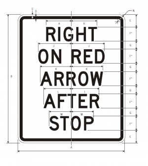 R10-17a Right On Red Arrow After Stop Regulatory Sign Spec