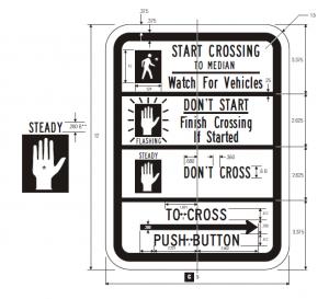 R10-3d Pedestrian Traffic Signal Regulatory Sign Spec