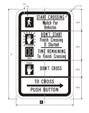 R10-3e Count-Down Pedestrian Regulatory Sign Spec