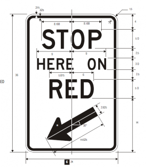 R10-6 Stop Here On Red Regulatory Sign