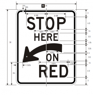 R10-6a Stop Here On Red Regulatory Sign Spec