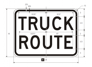 R14-1 Truck Route Regulatory Sign Spec