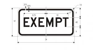 R15-3 W10 1a Exempt Highway Regulatory Sign Spec
