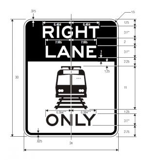 R15-4a Light Rail Only Right Lane Regulatory Sign Spec