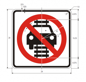R15-6 Do Not Drive On Tracks Light Rail Symbol Regulatory Sign Spec