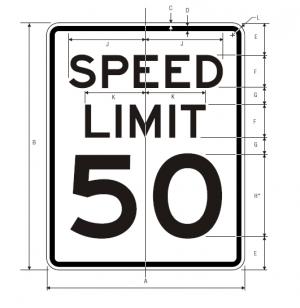 R2-1 Speed Limit English Regulatory Sign Spec