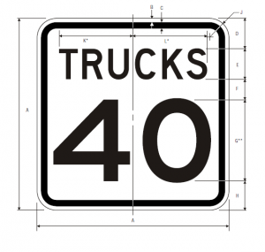 R2-2 Truck Speed Limit Regulatory Sign Spec