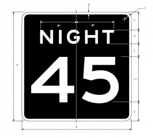 R2-3 Night Speed Limit English Regulatory Sign Spec