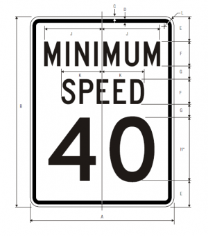 R2-4 Minimum Speed Limit English Regulatory Sign Spec