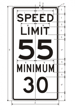 R2-4a Combined Speed Limit English Regulatory Sign Spec