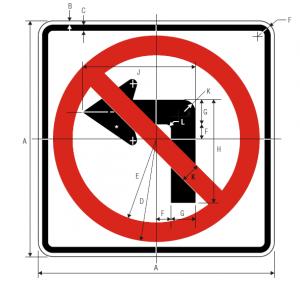 R3-2 Left Turn Prohibition Regulatory Sign Spec