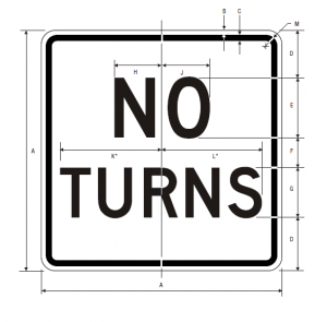 R3-3 No Turns Regulatory Sign Spec