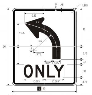 R3-5L Mandatory Movement Lane Control Regulatory Sign Spec