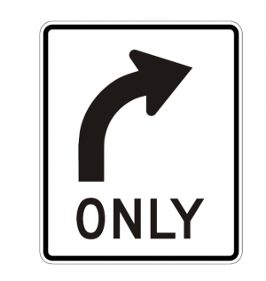 R3-5R Right Turn Only Regulatory Sign