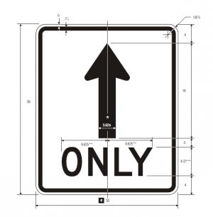 R3-5a Mandatory Movement Lane Control Regulatory Sign Spec