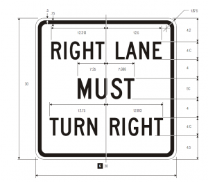 R3-7R Mandatory Movement Lane Control Regulatory Sign Spec
