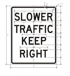 R4-3 Slower Traffic Keep Right Regulatory Sign Spec
