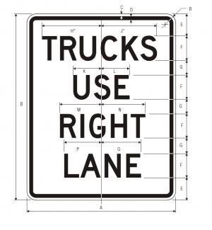 R4-5 Trucks Use Right Lane Regulatory Sign Spec