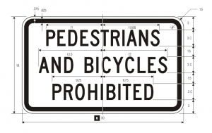 R5-10b Pedestrians And Bicycles Prohibited Regulatory Sign Spec