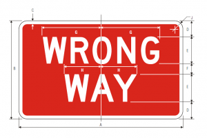 R5-1a Wrong Way Regulatory Sign Spec