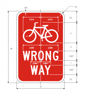 R5-1b Bicycle Wrong Way Regulatory Sign Spec