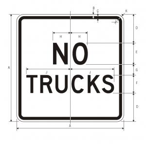 R5-2a No Trucks Regulatory Sign Spec