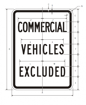 R5-4 Commercial Vehicles Excluded Regulatory Sign Spec