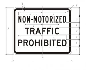 R5-7 Non-Motorized Traffic Prohibited Regulatory Sign Spec