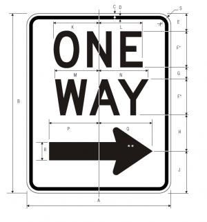 R6-2R One Way Regulatory Sign Spec