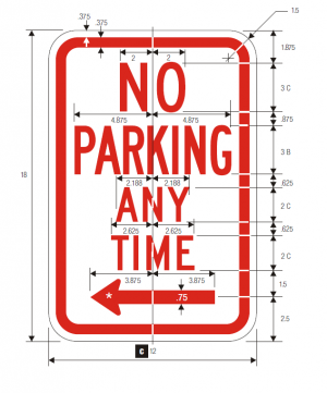 R7-1 No Parking Regulatory Sign Spec