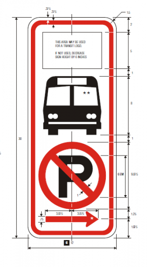 R7-107a No Parking With Transit Logo Regulatory Sign Specs