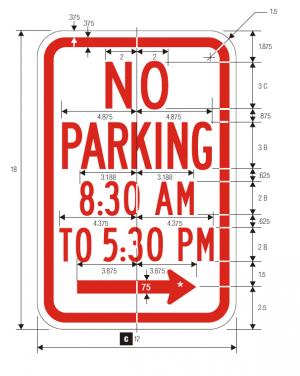 R7-2 No Parking Regulatory Sign Spec