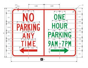 R7-200 No Parking Restricted Parking Combined Sign Regulatory Sign Spec