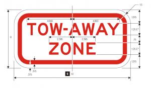 R7-201 Tow Away Zone Regulatory Sign Spec