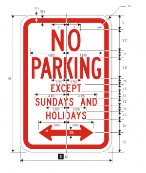 R7-3 No Parking Regulatory Sign Spec