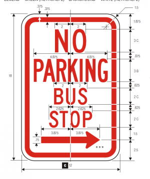 R7-7 No Parking Regulatory Sign Spec